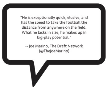 "Joe Marino on Javian Hawkins: ""He is exceptionally quick, elusive, and has the speed to take the football the distance from anywhere on the field. What he lacks in size, he makes up in big-play potential."""