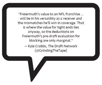 "Kyle Crabbs on Pat Freiermuth: ""Freiermuth's value to an NFL franchise won't be rooted in run blocking; it will be in his versatility as a receiver and the mismatches he'll win in coverage. That is where the value for tight ends lies anyway, so the deductions on Freiermuth's pre-draft evaluation for blocking are only marginal."""