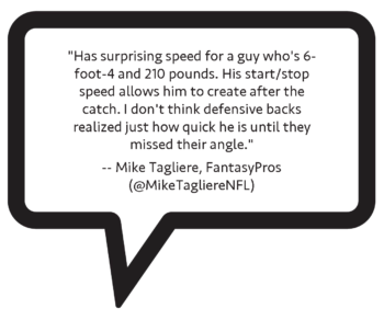 "Mike Tagliere on Tamorrion Terry: """"Has surprising speed for a guy who's 6-foot-4 and 210 pounds. His start/stop speed allows him to create after the catch. I don't think defensive backs realized just how quick he is until they missed their angle."""